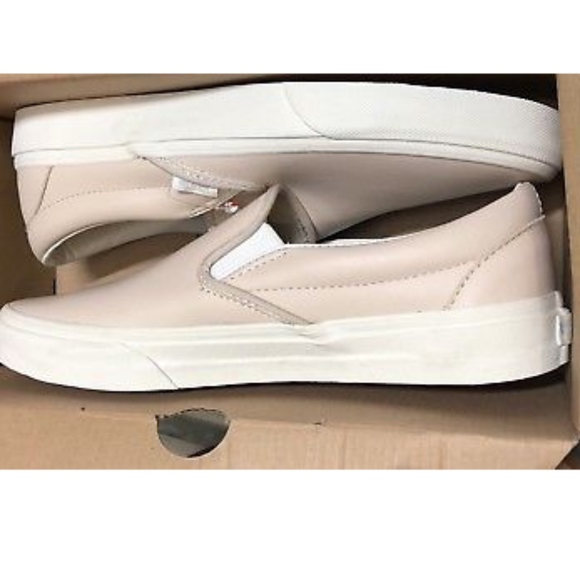 2ac3d3165016b1 Vans Classic Slip On Leather Whispering Pink Shoes